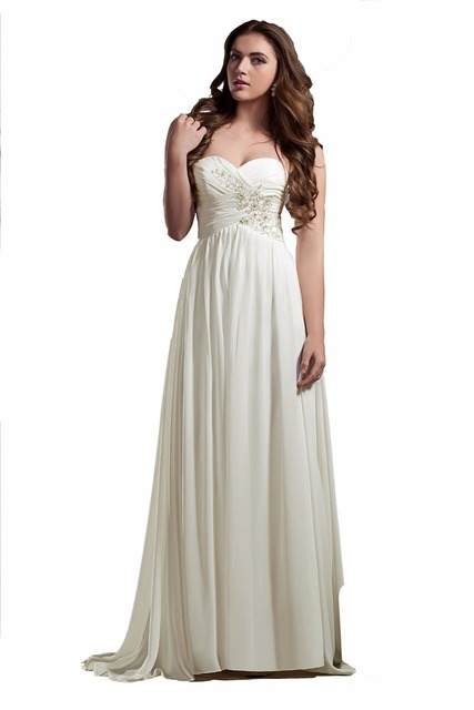 TOPQUEEN Real Sample A line Bridal Gown Sweetheart Neckline Chiffon ...