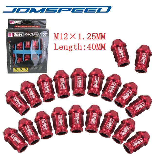 RED D1 SPEC JDM RACING M12X1.25 WHEEL LUG NUTS 40MM Fit For infiniti Nissan Subaru