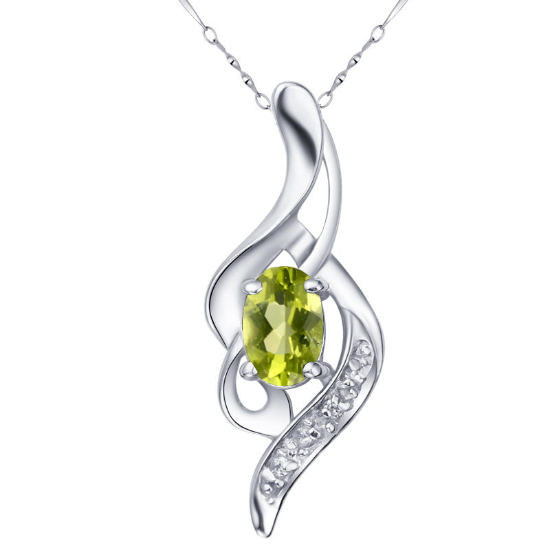 Natural Peridot Pendant Necklace 925 Sterling silver Woman Fine Elegant Gem Jewelry Girl Birthstone Valentine Gift