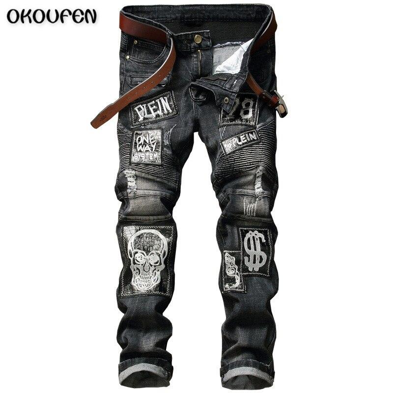 ФОТО Skull Biker Men Jeans Homme Slim Fit Personality Badge Patchwork Denim Hip Hop Male Stone Washed Punk Fear of God Jeans NZK66