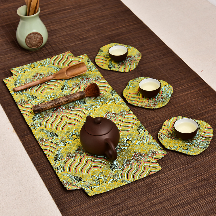 Wave Elegant Chinese Tea Placemats For Small Table Runner Luxury