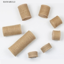 1pcs 5yard 2.5-30cm DIY Pure colored linen roll hand Christmas wedding craft natural jute table flag seat back