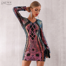 Adyce 2019 New Winter Sequined Celebrity Evening Runway Party Dress Women Sexy Mini Deep V Long Sleeve Luxury Club Dress Vestido