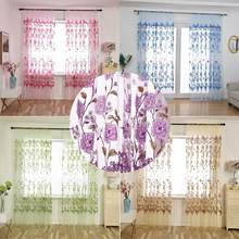 200*100CM Country style Leaves Flower Sheer Curtain for window Tulle Voile Curtains for modern bedroom living room decoration(China)