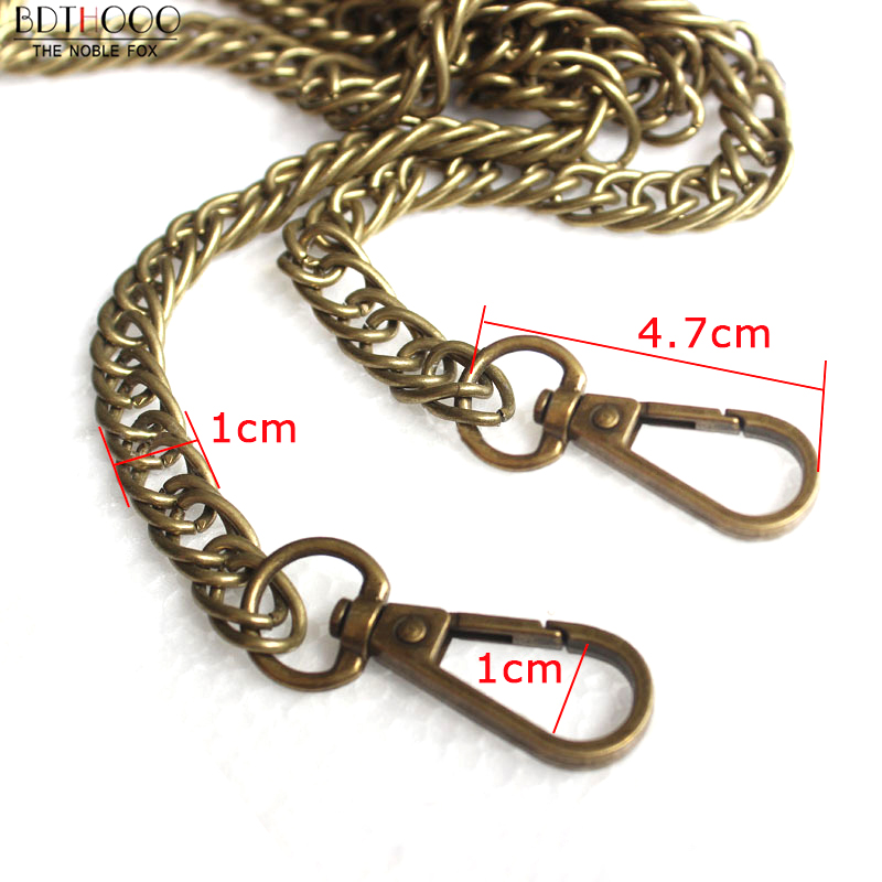 60/120cm Replacement Purse Metal Chain For Bags Shoulder Crossbody Strap Bag DIY Belt For Bag Accessories Hardware Iron Chain 120cm replacement metal chain for shoulder bags handle crossbody handbag antique bronze tone diy bag strap accessories hardware