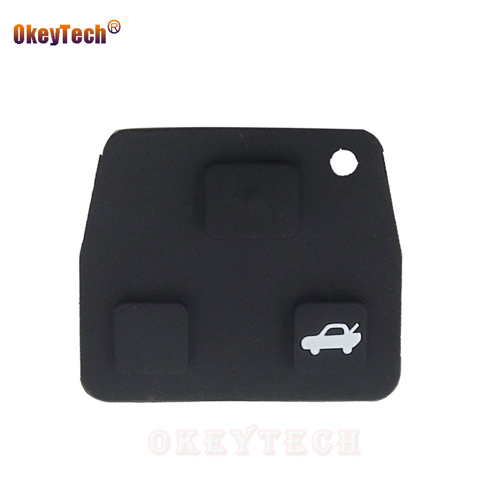 OkeyTech 2pcs 3 Button Auto Car Remote Entry Key Fob Black Silicon Rubber Pad Replacement For Toyota Avensis Corolla Lexus RVA4
