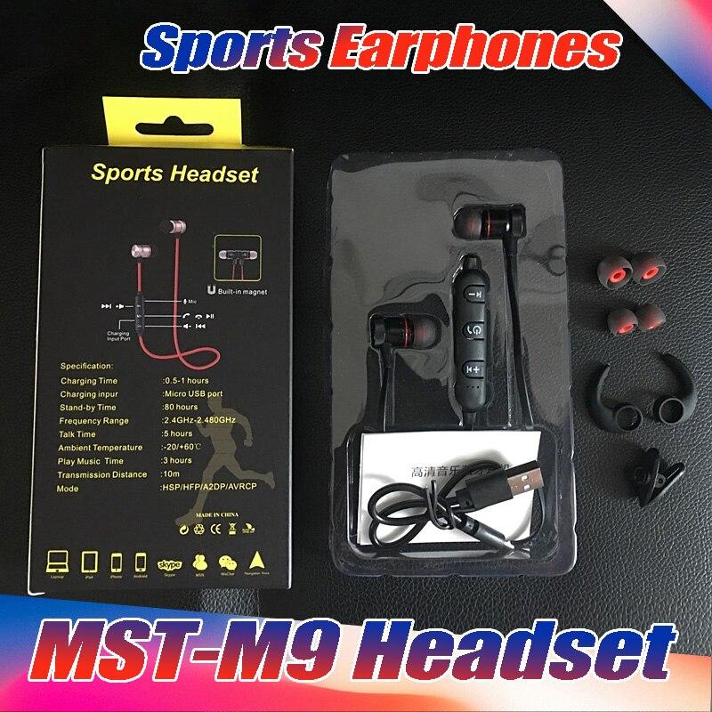 10 Stks/partij Hoge Kwaliteit Mst-m9 Magneet Metalen Sport Draadloze Koptelefoon Bluetooth 4.1 Waterdicht Zweet-proof Running Gym Met Doos