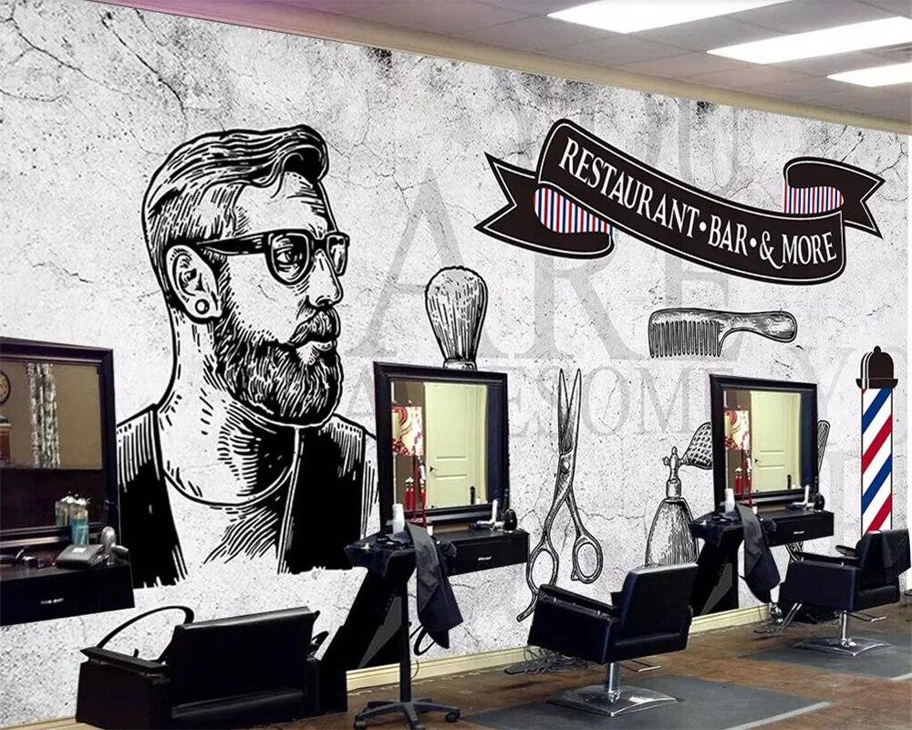 Heimwerker Tapeten Kreativ Beibehang Custom Tapete 3d Wandbild Foto Retro Zement Wand Nostalgischen Flut Männlichen Haar Salon Shop Wand Dekoration Papel De Parede Starke Verpackung