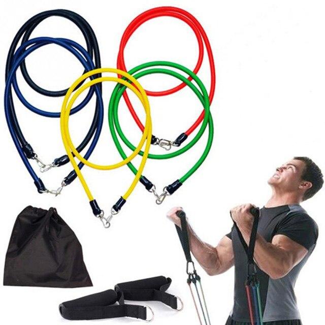 CHAUDE 11 Pcs Bandes de Résistance De Yoga Pilates Crossfit Équipements de Remise En Forme Élastique Corde de Traction D'entraînement Bande De Tube De Latex Mis Exercice 528TT
