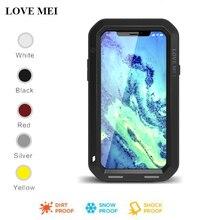 Capa protetora para iphone, case protetor, capa de metal, armadura, à prova de choque, para apple iphone xs max, xr, love mei vidro de vidro