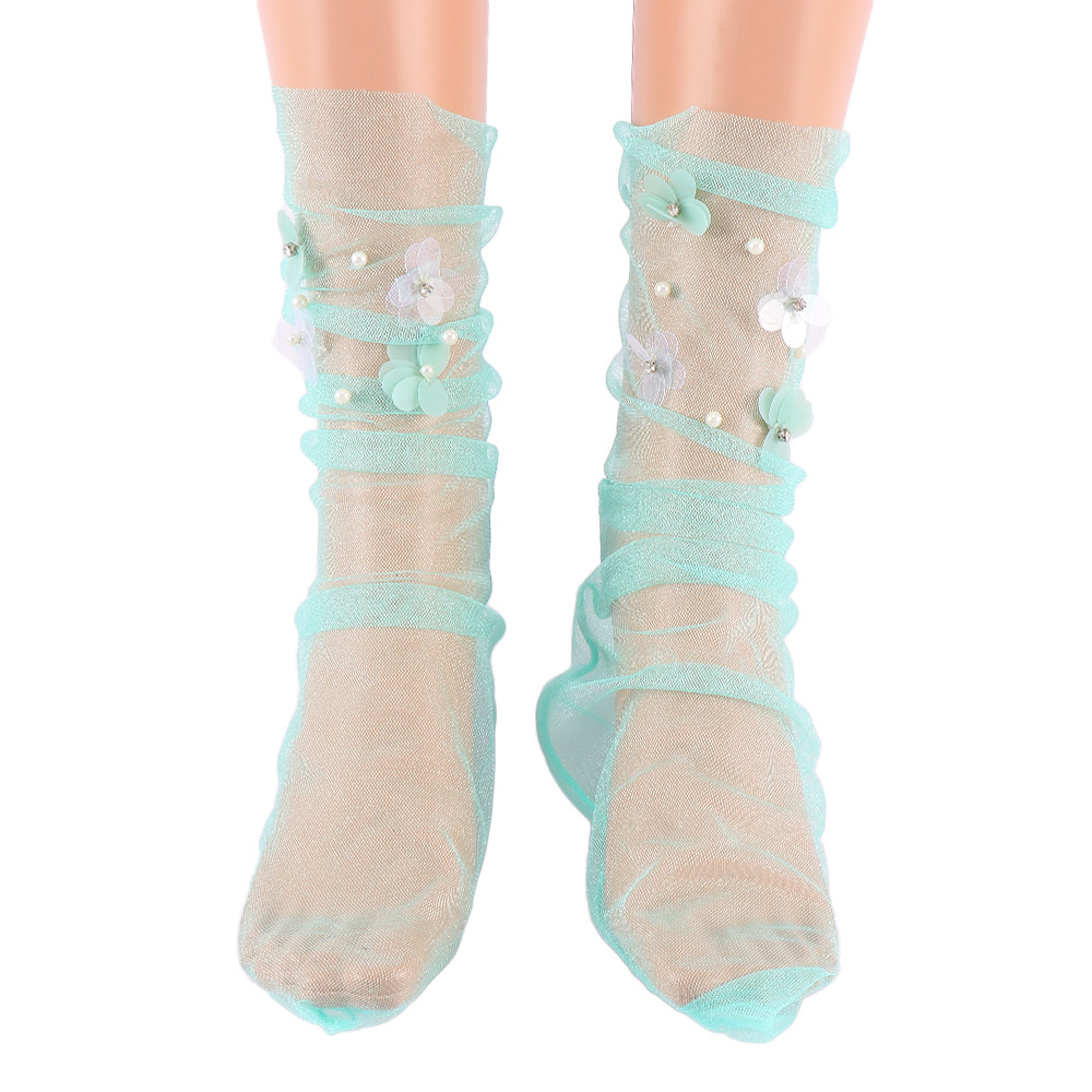Women's Handmade Sequins Flowers Socks Lolita Ladies Transparent Mesh Floral Pearl Socks Gauze Sock Sox Female Hosiery