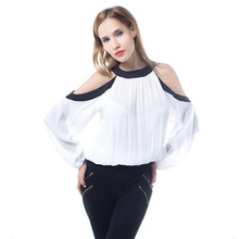 2019 Summer New Women Chiffon Shirt Office Lady Full Sleeves Solid Flare Sleeve Strapless White Splicing Blouses