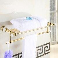 Bathroom Shelves Brass Crystal Towel Rack Gold Towel Shelf Wall Mounted Towel Holder Towel Hanger Bathroom Accessories