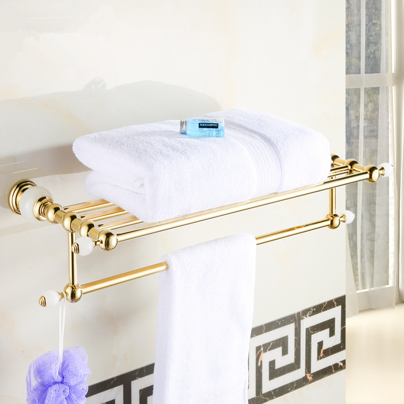 Bathroom Shelves Brass Crystal Towel Rack Gold Towel Shelf Wall Mounted Towel Holder Towel Hanger Bathroom Accessories bathroom shelves wall mounted black towel rack holder towel hanger bath towel holders wc clothes storage shelf wf 88812