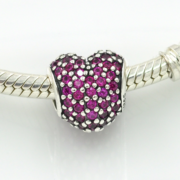 7ba1443d7 Original 925 Sterling Silver Purple Pave Heart Charm Fit Pandora Charms  Bracelet Necklaces & Pendants DIY Beads Jewelry-in Beads from Jewelry &  Accessories ...