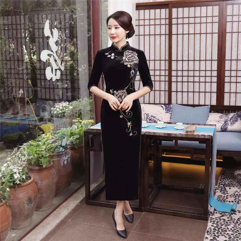上海ストーリー国家トレンドドレス中国伝統的なドレス中国オリエンタルドレスロングチャイナベルベットドレス用レディース