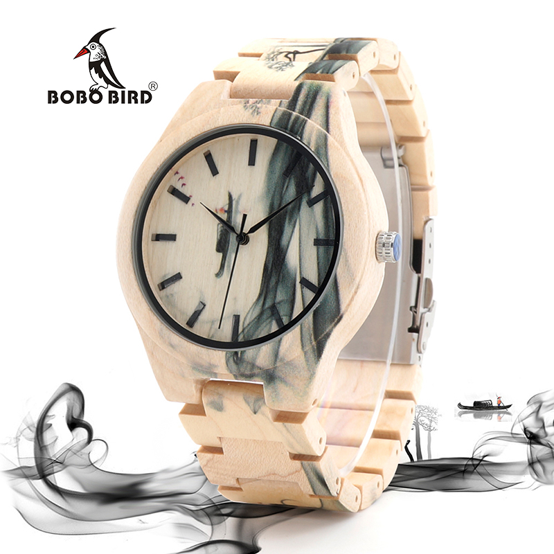 BOBO BIRD Wood Men Watch Top Brand Luxury Quartz Watches Hadiah Besar untuk Man di Kotak Kayu OEM relogio masculino W-O17