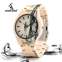 BOBO BIRD O17 Maple Wood Watch For Men Pine Band Top Brand Luxury Wash Painting Chinoiserie
