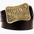 Fashion wild Men belt metal buckle square Arabesque pattern belt bold hip hop Street Dance exaggerated belt hipper waistband