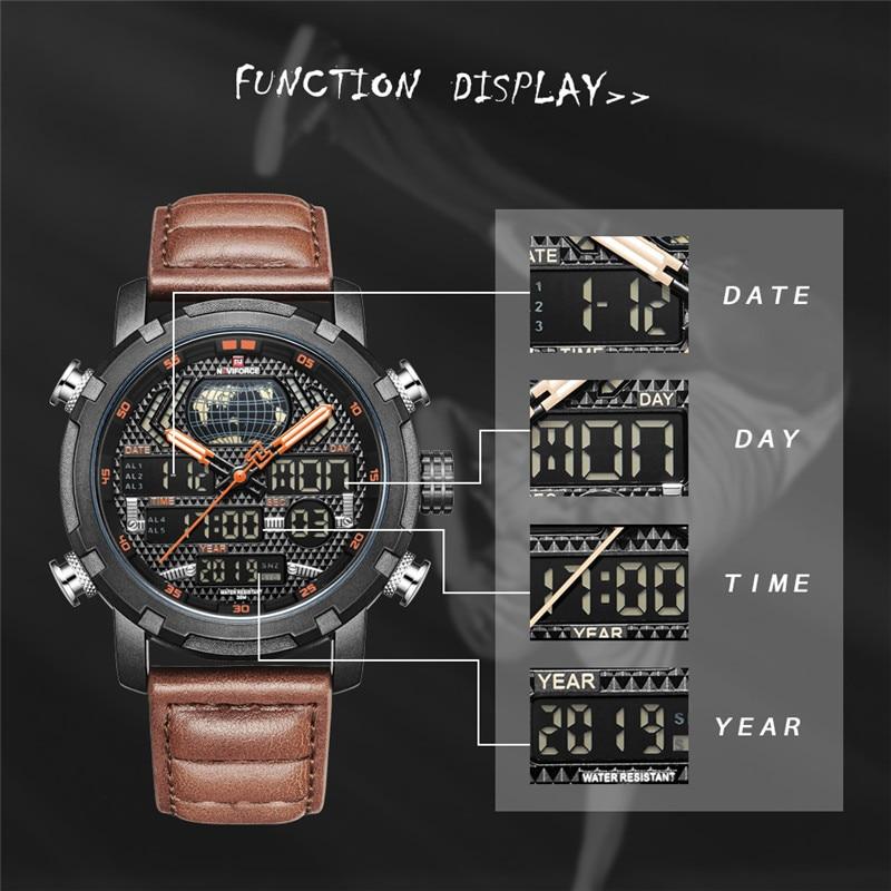 Image 5 - NAVIFORCE Watch Men Top Brand Luxury Digital Analog Sport Wristwatch Military Genuine Leather Male Clock Relogio Masculino 9160-in Quartz Watches from Watches