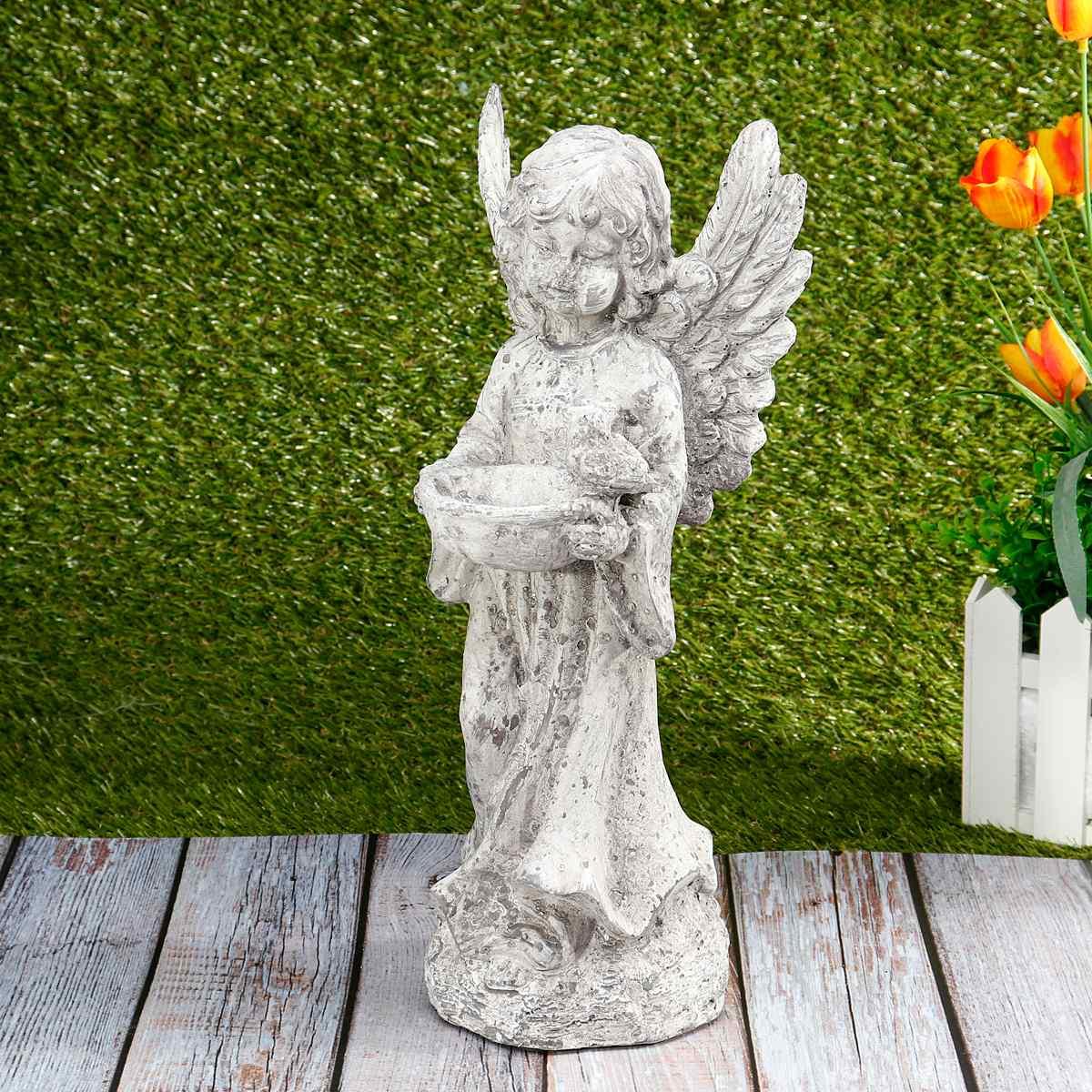 Jardin oiseaux mangeoires Statue mignon cupidon ange ornements décoration artisanat bureau ornement pour maison jardin cadeau Figurines