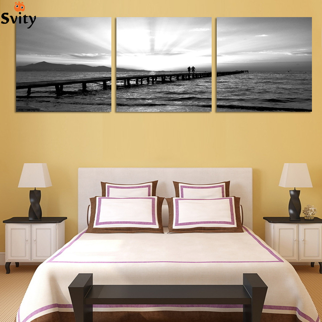 3 Piece home Decorative for bedroom black white lover seascape Wall ...