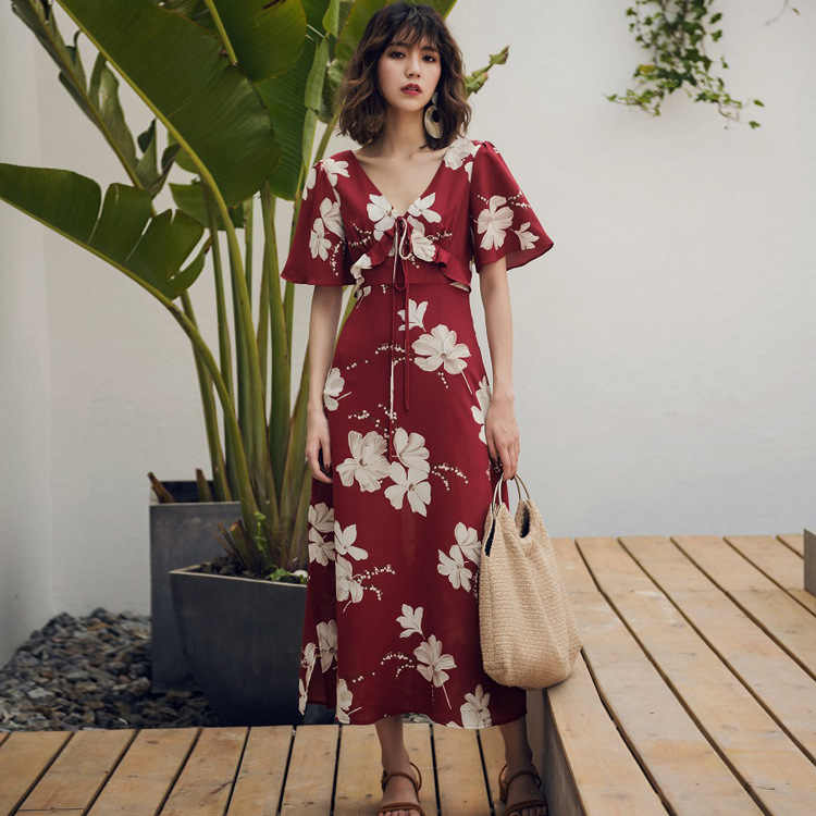 Лето 2018 новый стиль праздничное модное платье с старинные печатные шифоновое