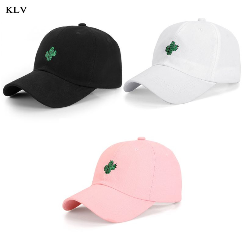 Korean Minimalist Cactus Embroidered   Baseball     Cap   Women Men Harajuku Hip Hop Solid Color UV Protection Adjustable Trucker Hat