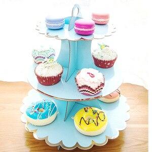 Image 5 - 3 層のカップケーキスタンド紙固体ストライプのカップケーキラッパー装飾結婚式誕生日ホリデーパーティーデザートテーブル用品