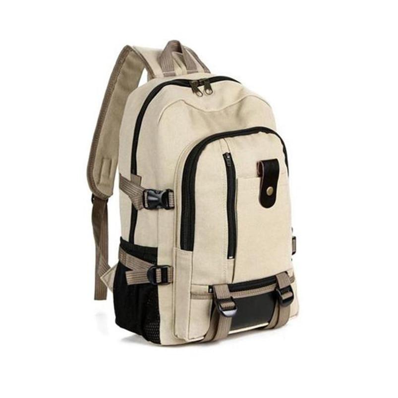 Outdoor Double-Shoulder bag Vintage Travel Canvas Leather Backpack Sport Rucksack Satchel School Hiking cycling Bag #5O08 (1)