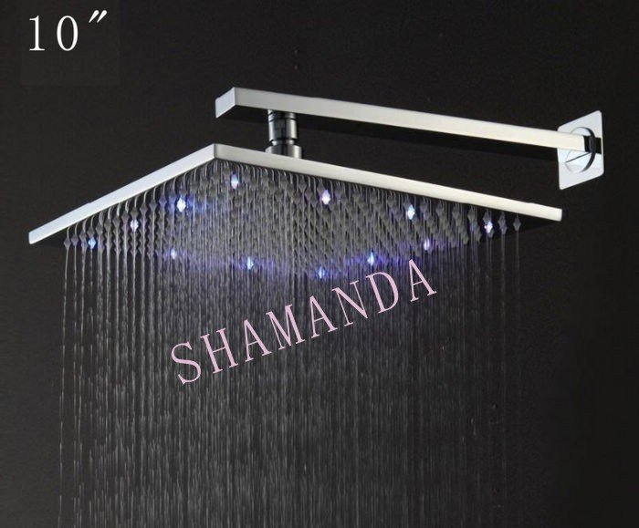 Free Shipping 10 inch LED shower head with brass 250*250 self-powered led shower head light shower three color 20012 8 inch led shower head square showers with led brass chorm ducha led temperature sensor water light top shower with three color