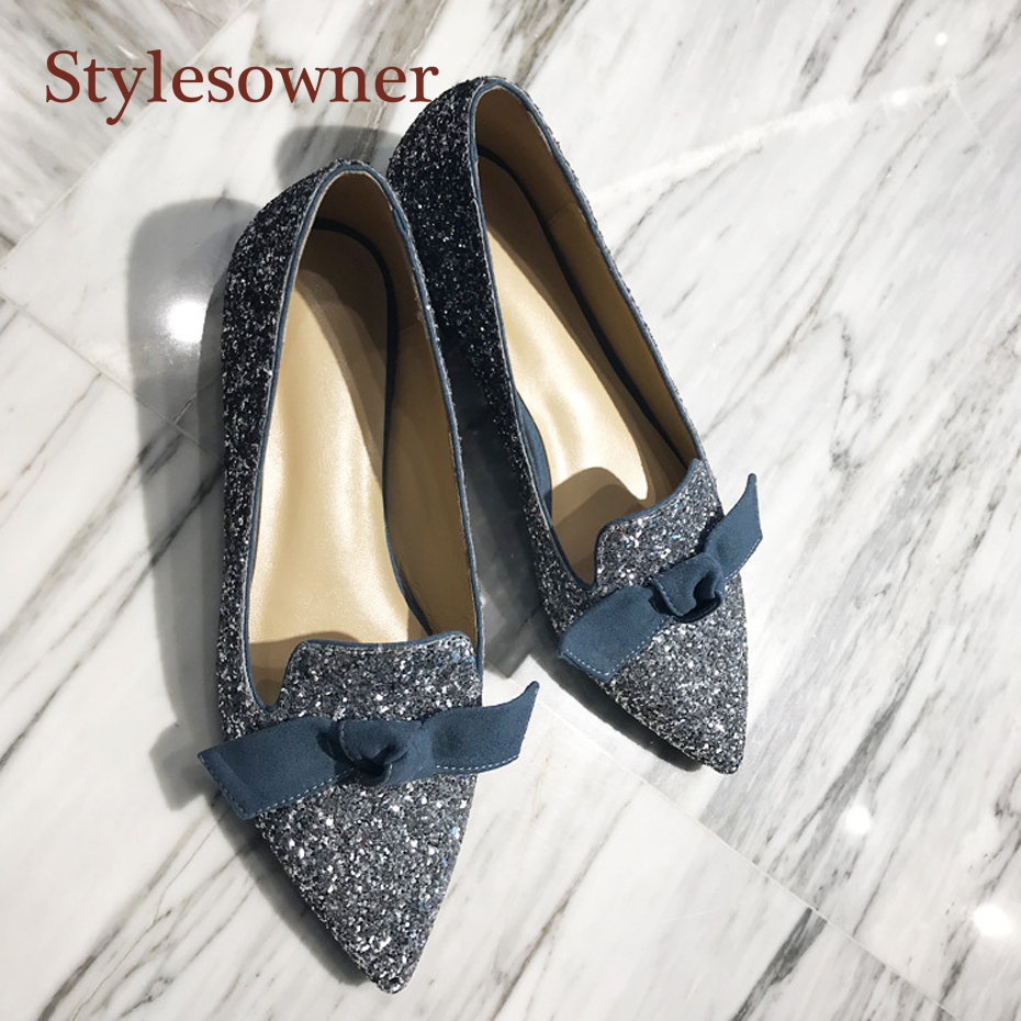 Stylesowner 2019 Candy Bowtie Shoe Pointed Toe Bling Sequins Slip on Spring Summer time Shoe Silver Gold Black Flat All Match Sapatos Ladies's Flats, Low cost Ladies's Flats, Stylesowner...