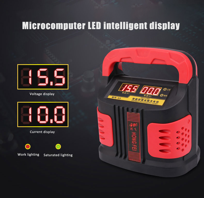 Handheld Car Battery Charger Dual LED Display Automatic Pulse Repair Type Smart Fast Charging Machine for Cars Trucks red&black
