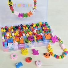 Детские бусины Развивающие игрушки для девочек DIY бусины Jouet смешанные деревянные бусины головоломки игрушки ювелирные изделия ожерелье браслет комплект блок игрушка