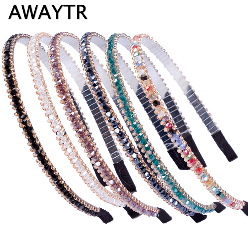 AWAYTR 1 PC New Women Lady Crystal Metal Hair band Girls Bling Beads Black Navy Headband Hair Jewelry HairBand Accessories shanfu women zebra stripe sinamay fascinator feather headband fashion lady hair accessories blue sfc12441