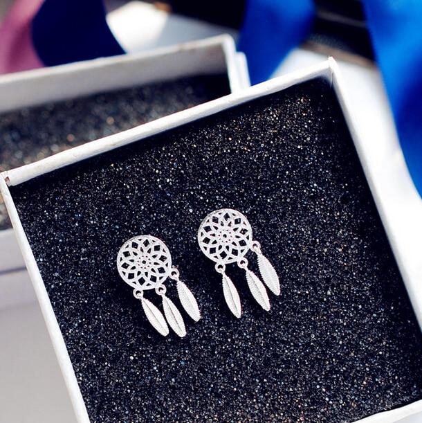 XIYANIKE 925 Sterling Silver Dream Catcher Feather Tassels Stud Earrings For Women Girl  ...