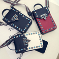 2017 Direct Selling Women Polyester New Messenger Bag Female Rivets Mobile Phone Package Ribbon Buckle Small Shoulder Vertical