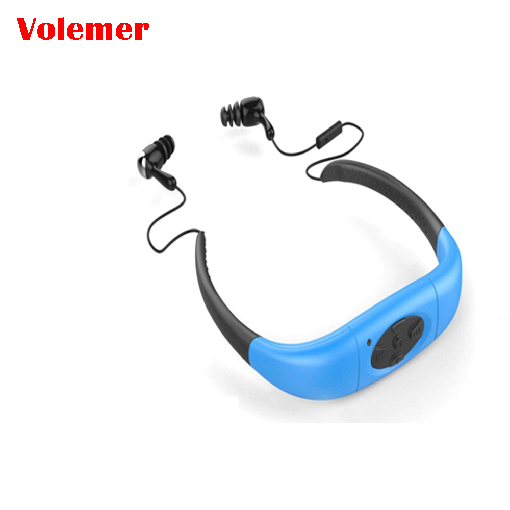 где купить 2017 New IPX8 Waterproof 4GB 8GB Sports MP3 Neckband Stereo MP3 Player Earphone Music Player with FM Radio for Swimmimg Running дешево