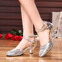 Latin Dance Shoes Woman Sandals New Shoes Ladies Square Dance Samba Sequined Latin Dance Shoes Bullfight
