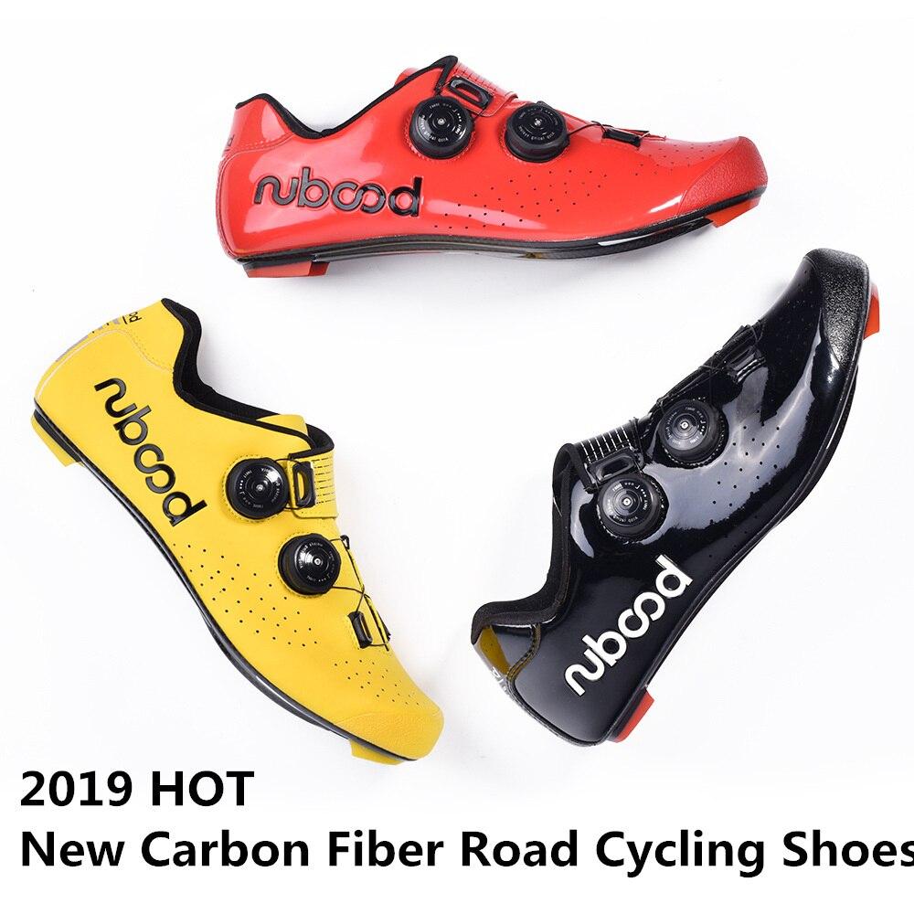 2019 QUENTES Novos Sapatos de Ciclismo de Estrada De Fibra De Carbono Auto-Travamento Ultraleve Respirável Desgaste Não-deslizamento profissional de Bicicletas De Corrida sapatos