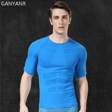 GANYANR Brand Running T Shirt Men Sportswear Sports Fitness Basketball Tennis Compression Gym Jogging Tops Slim Fit Quick Dry