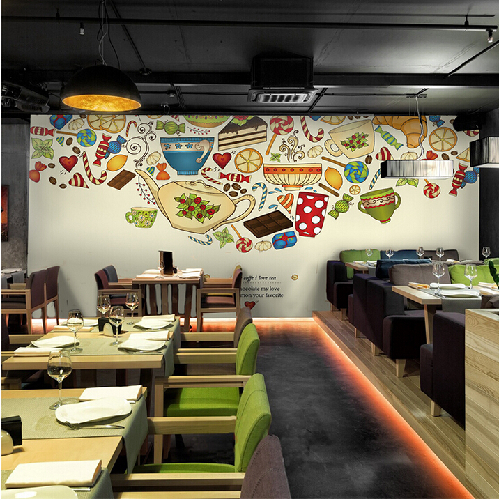 Simple european food coffee large mural wallpaper for Cafe mural wallpaper