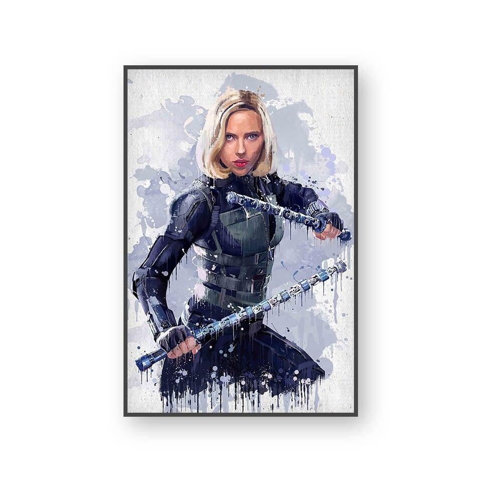 Настенный художественный холст с печатью постера, настенные картины для домашнего декора, Марвел, Мстители, фильм супергерой, Дэдпул, Железный Человек-паук, Локи - Цвет: L394D