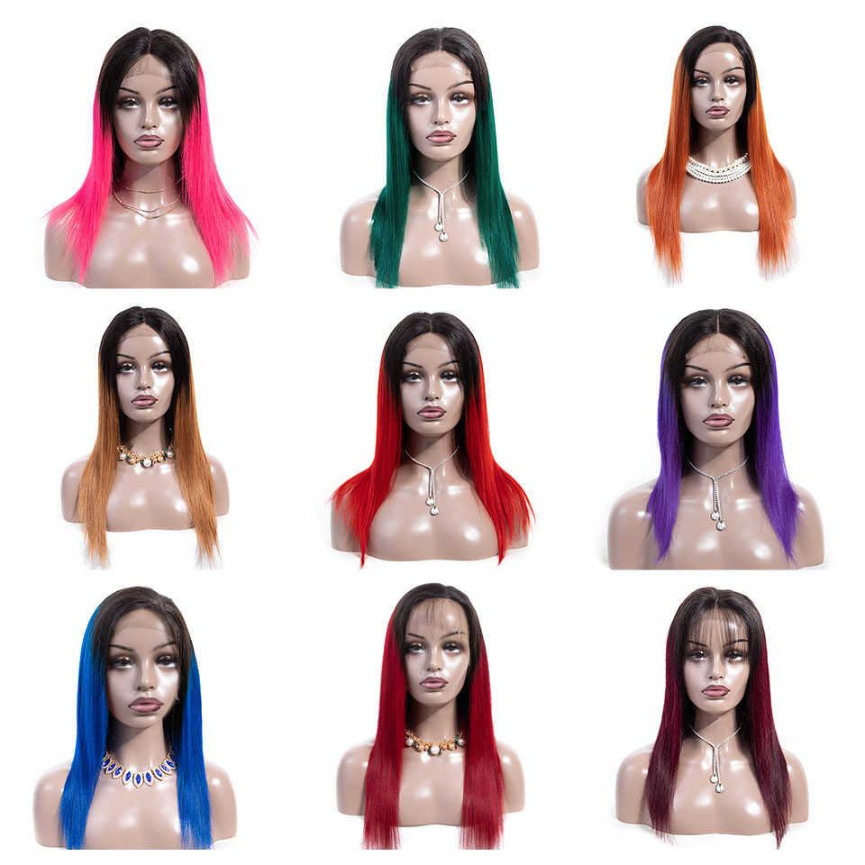 Эффектом деграде (переход от темного к малазийские прямые волосы 4x4 кружева закрытие парик их натуральных волос парики для женский, черный бордовый парик блондинки 12-24 дюймов alimice волосы Remy