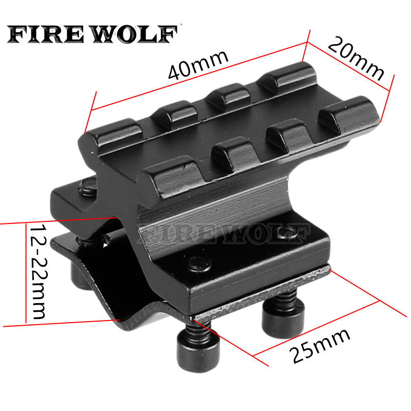 FIRE WOLF Adjustable Universal Rail 20mm Picatinny/weaver Barrel Mount Rail Adapter For Scope Laser Flashlight Converter
