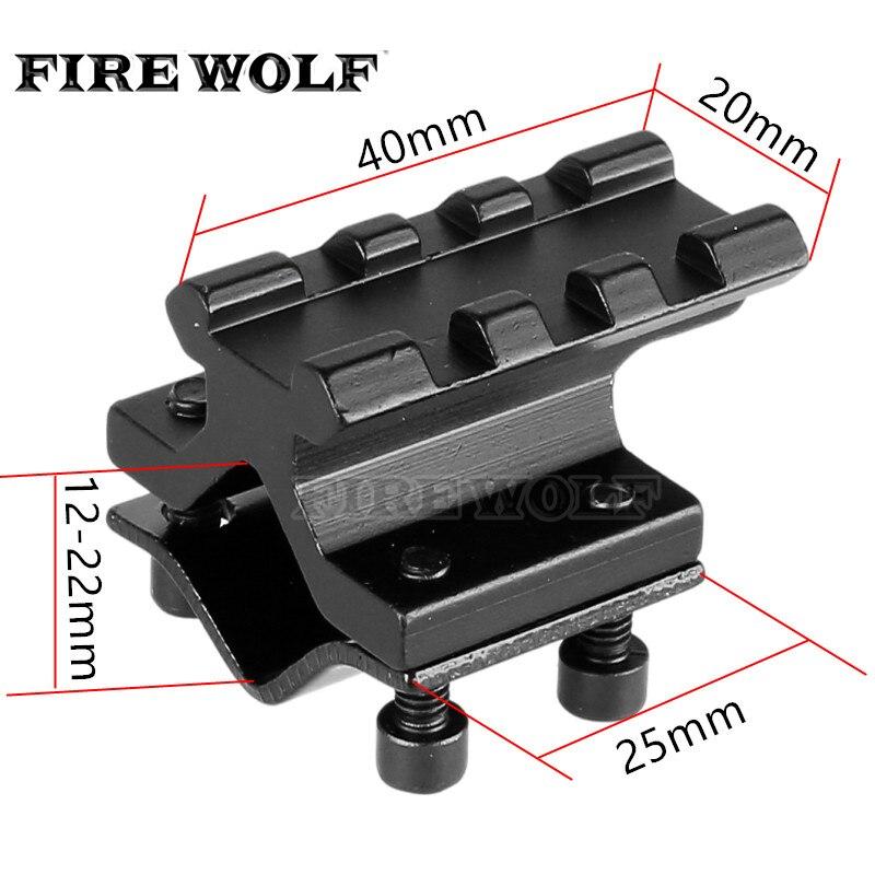 FIRE WOLF Rail universel réglable 20mm Picatinny/tisserand adaptateur de Rail de montage de baril pour le convertisseur de lampe de poche Laser de portée