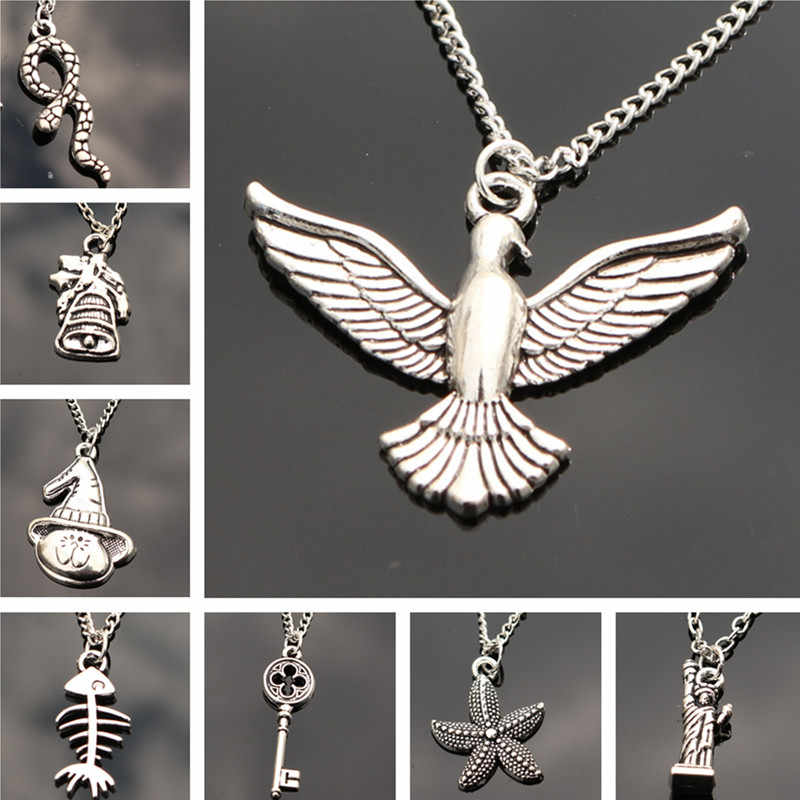 Fashion Pendants Necklace Chain Women Jewelry Accessories Retro Key Snake Birds Collares Collier One Direction Christmas Gift