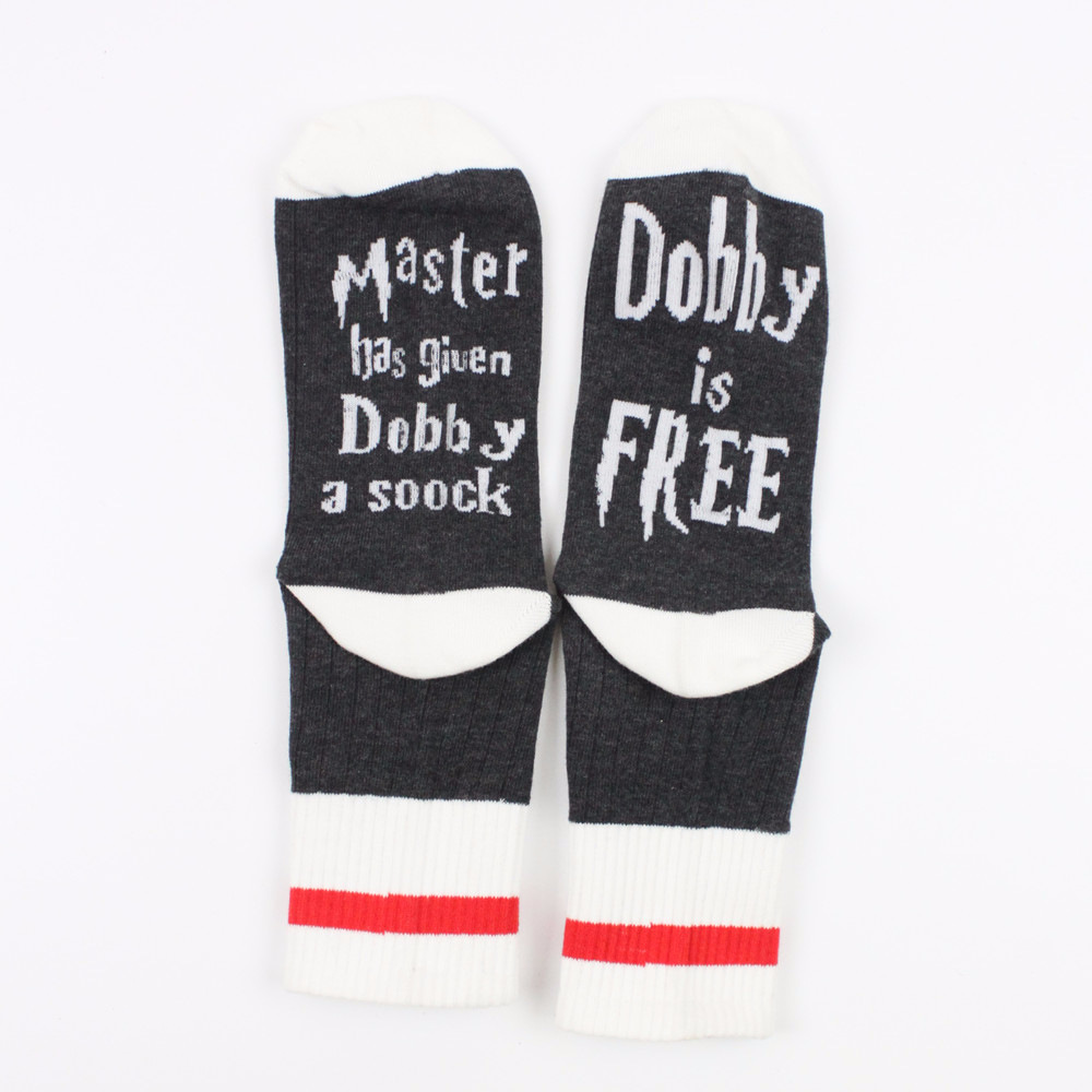 1 Pairs Master Has Given Dobby A Socks New Style Of Autumn And Winter Women Funny Gray Unisex For Cotton Casual Sock Man Meias