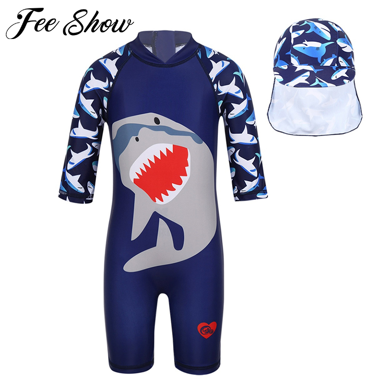 Sun Protection Rash Guard Boysuit Costume HUAANIUE Boys Swimming Top Quick Dry Kids Summer Swimsuit 3-10Y One Piece Swimwear LongSleeve UPF 50