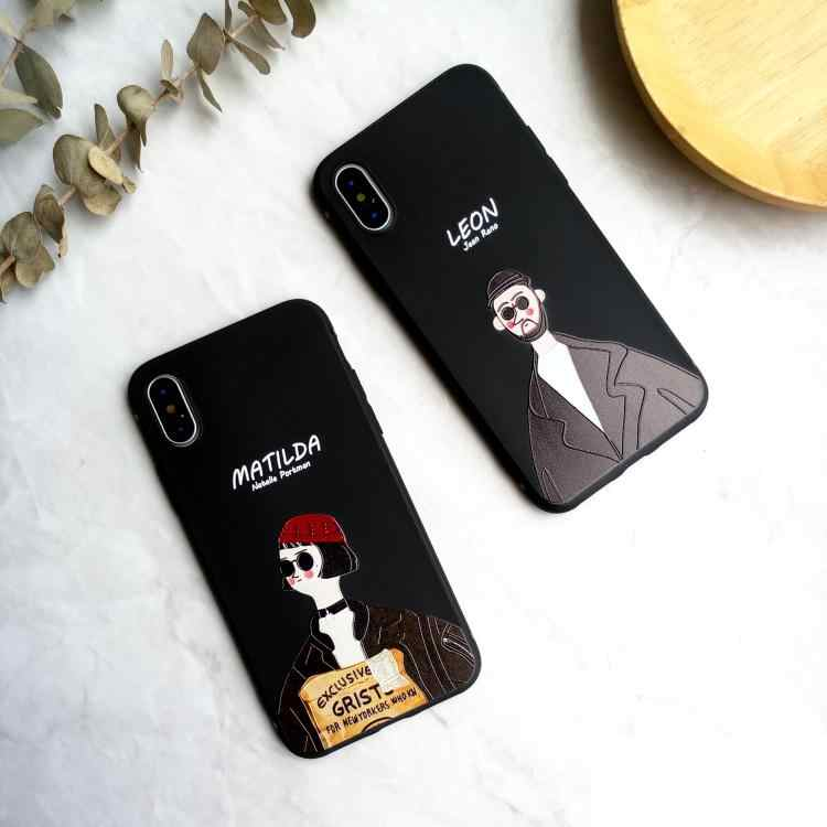 Film Klasik Leon Phone Cover Case untuk iPhone 11 Pro X XS Max XR 10 8 7 6 6 S plus 3d Relief Lembut Silikon Pasangan Coque Funda